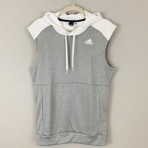 NWT Adidas sleeveless hoodie grey white